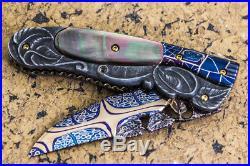 CUSTOM HANDMADE Folding Knife Mosaic Damascus Black Pearl Suchat Jangtanong