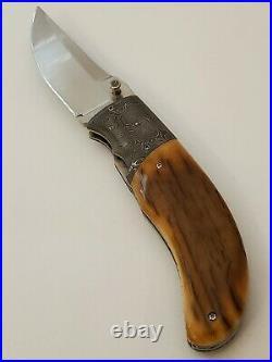 Carlton Evans Custom Handmade Linerlock Folding Knife Damascus Bolsters Mammoth