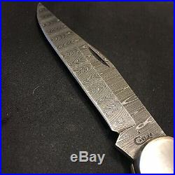 Case Knife. Large Folding Hunter. Crimson Bone Peach Seed Jig. Ladder Damascus