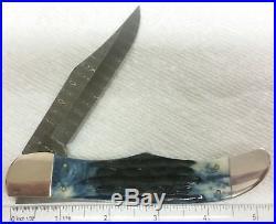 Case XX 6165 Folding Hunter knife, 2015, Damascus, Mediterranean Blue, #10838