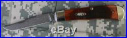 Case XX Backpocket Folding Knife Chestnut Scales & Random Pattern Damascus Blade
