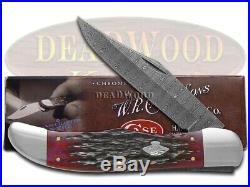 Case XX Damascus Folding Hunter Knife Jigged Crimson Red Bone Pocket 74174