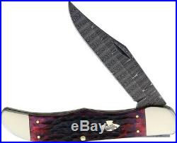 Case XX Lg Field Hunter Folding Knife Damascus Steel Blade Jigged Bone Handle