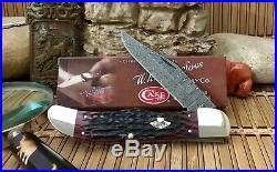 Case XX USA Exquisite CRIMSON Bone Ladder DAMASCUS CA74174 Folding Hunter Knife