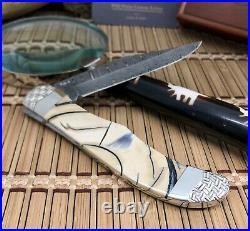 Case XX Wild Horse Custom Exotic FOSSIL Ladder DAMASCUS Folding Hunter Knife #2