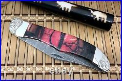 Case XX Wild Horse Custom Exotic Red FOSSIL Damascus Folding Hunter Knife #1