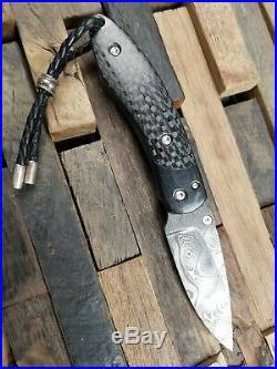 Castlegate Knives Carbon Fiber Handled Damascus Folding Knife