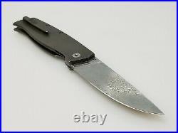 Cheburkov CHB062 Strizh Large Damascus Blade, Titanium Bone Folding Pocket Knife
