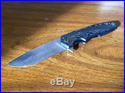 Cheburkov Kasatka Timascus and Damascus Custom Flipper Folding Knife