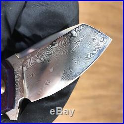 Cheburkov full custom folding knife Bulldog Timascus handle damascus blade