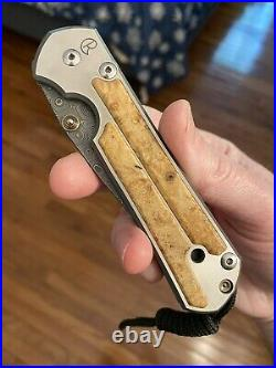 Chris Reeve Knives CRK Large Sebenza 21 Box Elder Raindrp Damascus Folding Knife