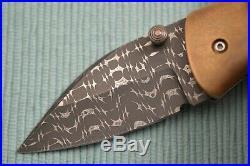 Chuck Gedraitis MONGOOSE Liner-Lock Folding Knife, Razor Wire Damascus, Timascus