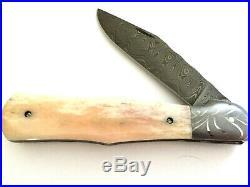 Chuck Hawes Custom Handmade Damascus Folding Knife
