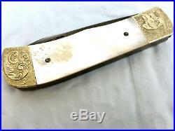 Chuck Hawes Custom Handmade Damascus Mother Of Pearl Folding Knife