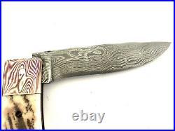 Chuck Hawes Custom Handmade Stag Damascus Folding Knife