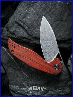 Civivi Anthropos Folding Knife 3.25 Damascus Steel Blade Sandalwood Handle
