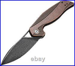 Civivi Anthropos Linerlock Copper Folding Damascus Drop Point Knife 903DS3