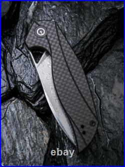 Civivi Elijah Isham Anthropos Damascus G10 Carbon Fiber Folding Knife C903DS
