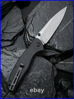 Civivi Governor Linerlock Black G10 Folding Damascus Steel Pocket Knife 911DS
