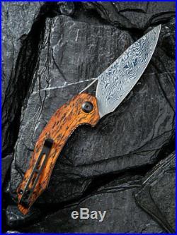 Civivi Plethiros Liner Folding Knife 3.5 Damascus Steel Blade Sandalwood Handle