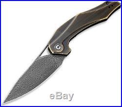 Civivi Plethiros Linerlock Brass Folding Damascus Steel Pocket Knife 904DS3