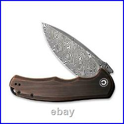 Civivi Praxis Folding Knife 3.74 Damascus Steel Blade Rubbed Copper Handle