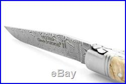 Claude Dozorme Laguiole Damascus Folding Pocket Knife / Birch Wood New