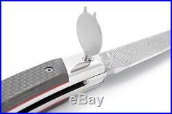 Claude Dozorme Laguiole Damascus Folding Pocket Knife / Carbon New