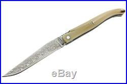 Claude Dozorme Laguiole Damascus Folding Pocket Knife / Horn New