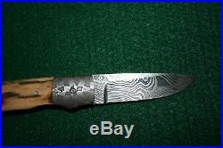 Cliff Parker Custom Hand Made Damascus Folding Knife Tiger Eye