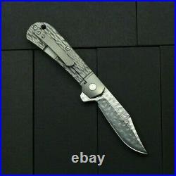 Clip Point Folding Knife Pocket Hunting Survival Damascus Steel Titanium Handle