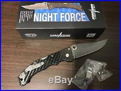 Cold Steel Carbon Fiber Night Force Straight Damascus Folding Pocket Knife 63NF