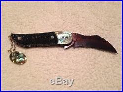 Color Damascus Custom Folding Knife Stingray Skin Abalone