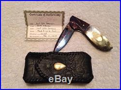 Color Damascus Custom Handmade Folding Knife Mother of Pearl Titanium