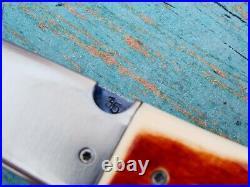 Custom Bob Levine Stag Hand Made Forged Damascus Folding Pocket Knife Knives