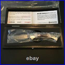 Custom Boker Damascus Stag Folder Folding Knife