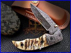 Custom Damascus Steelpocket Folding Knife Sheep Horn Handle