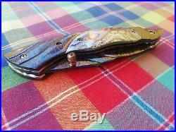 Custom Folding Knife Color Damascus Steel engrave Abalone pearl Arts Handmade