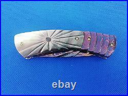 Custom Folding Knife Color Damascus Steel engrave Black pearl Arts Handmade D-01