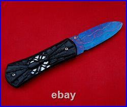 Custom Folding Knife Color Damascus Steel engrave spider Black wood White pearl