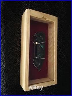 Custom Folding Knife Handmade Damascus Steel key chain Abalone carve Wood rare