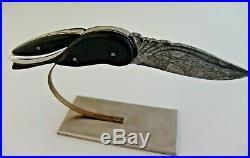 Custom Folding Knife Pocket Sculpture Damascus, Ebony, Ironwood DickWeberKnives