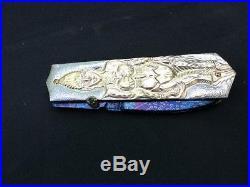 Custom Folding Knife by Lek Bovi Mosaic Damascus carve Plating Pink gold Silver