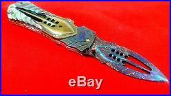 Custom Folding Knife by Suchat mosaic Damascus Steel black pearl carve Brass