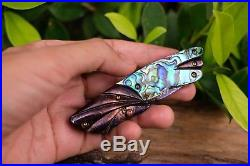 Custom Folding Knife mosaic Damascus Steel White pearl carve Abalone #11