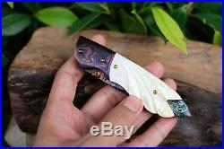 Custom Folding Knife mosaic Damascus Steel White pearl carve Abalone #6