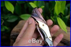 Custom Folding Knife mosaic Damascus Steel White pearl carve Abalone #9