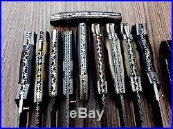 Custom Hand Made Damascus Steel Folding Knives. Lot Of 11 (eleven)(ab Ahad 004)