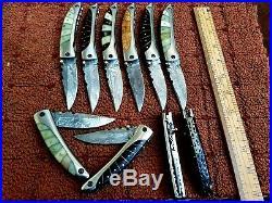 Custom Hand Made Damascus Steel Folding Knives(lot Of 10) Gli Saloon 002