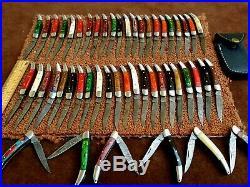 Custom Hand Made Damascus Steel Mini Folding Knives(lot Of 50) Gli Saloon 004